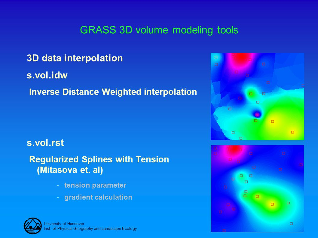 University of Hannover Inst. of Physical Geography and Landscape Ecology GRASS 3D volume modeling tools 3D data interpolation s.vol.idw Inverse Distan