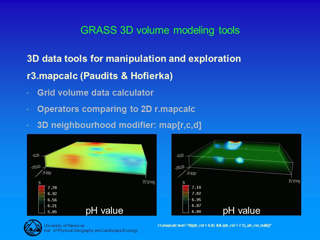 University of Hannover Inst. of Physical Geography and Landscape Ecology GRASS 3D volume modeling tools 3D data tools for manipulation and exploration