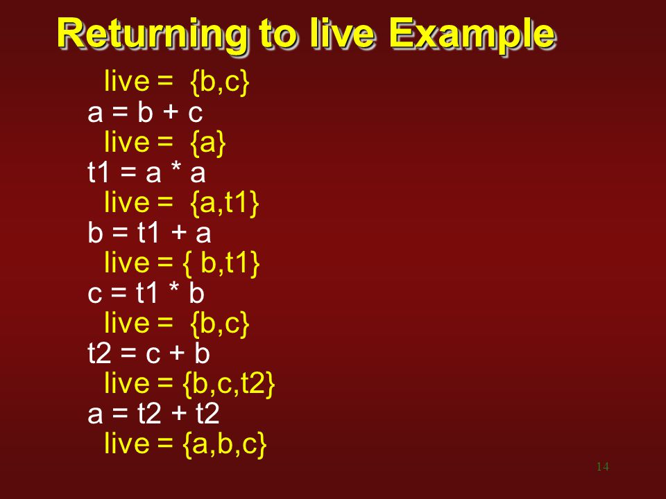 14 Returning to live Example live = {b,c} a = b + c live = {a} t1 = a * a live = {a,t1} b = t1 + a live = { b,t1} c = t1 * b live = {b,c} t2 = c + b l