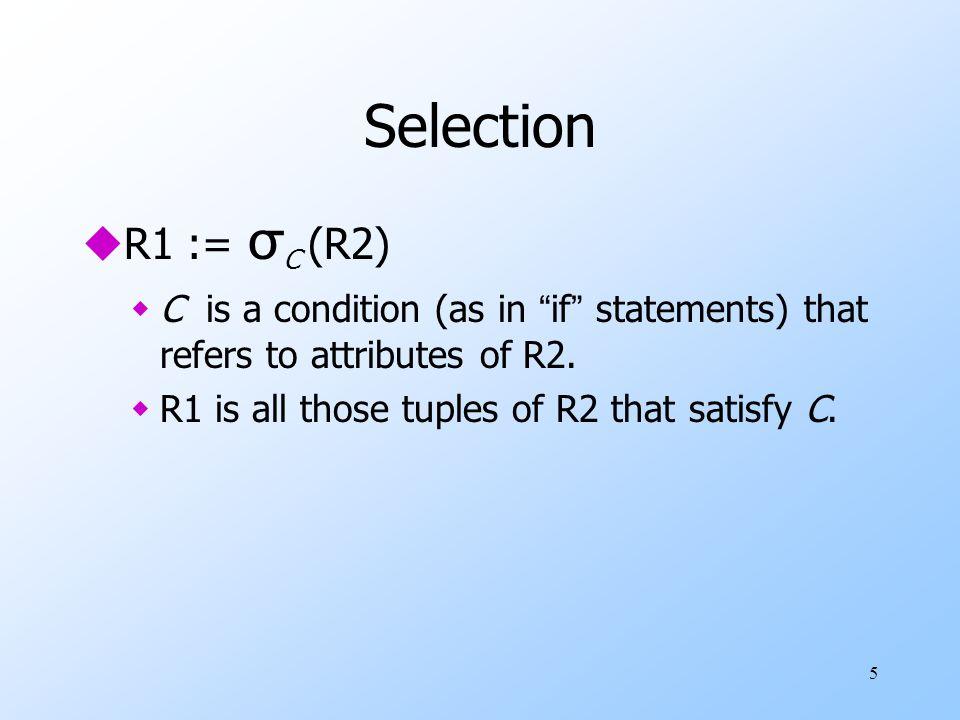 6 Example: Selection Relation Sells: barbeerprice Joe'sBud2.50 Joe'sMiller2.75 Sue'sBud2.50 Sue'sMiller3.00 JoeMenu := σ bar= Joe's (Sells): barbeerprice Joe'sBud2.50 Joe'sMiller2.75