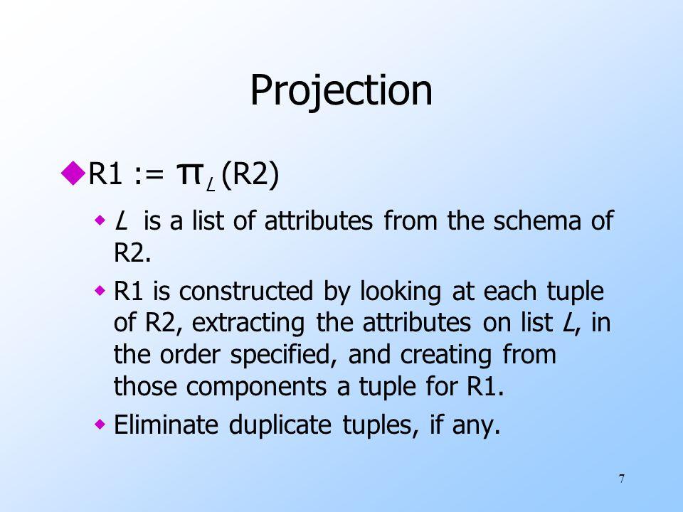 8 Example: Projection Relation Sells: barbeerprice Joe'sBud2.50 Joe'sMiller2.75 Sue'sBud2.50 Sue'sMiller3.00 Prices := π beer,price (Sells): beerprice Bud2.50 Miller2.75 Miller3.00