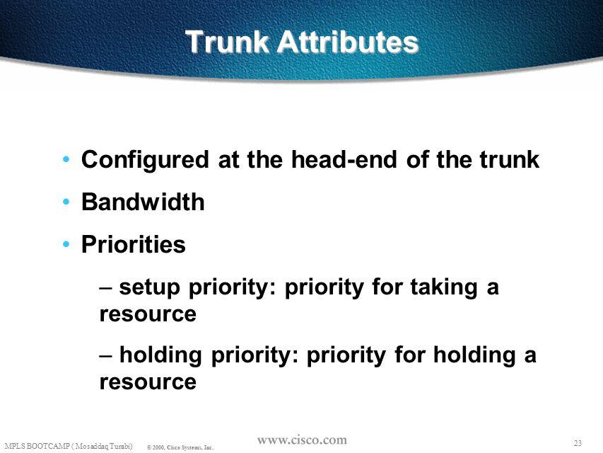 22 © 1999, Cisco Systems, Inc. Mosaddaq Turabi Trunk Attributes 22 © 1999, Cisco Systems, Inc.