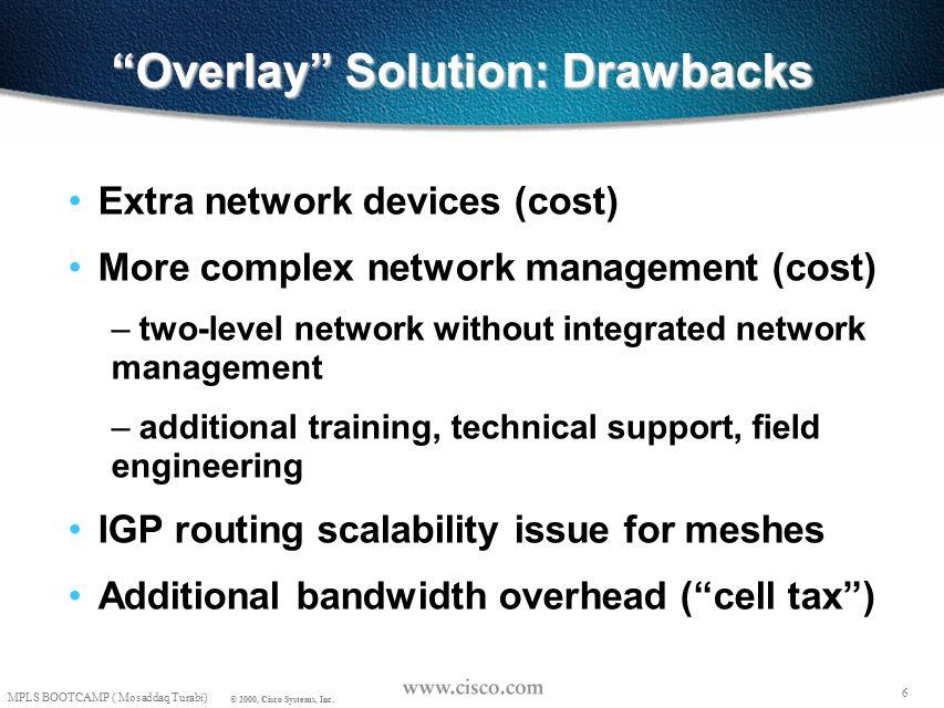 5 MPLS BOOTCAMP ( Mosaddaq Turabi) © 2000, Cisco Systems, Inc. Traffic Engineering with Overlay R1 R2 R4 R3 TRAFFIC ENGINEERING AT LAYER 2 R1 L2 L2L2