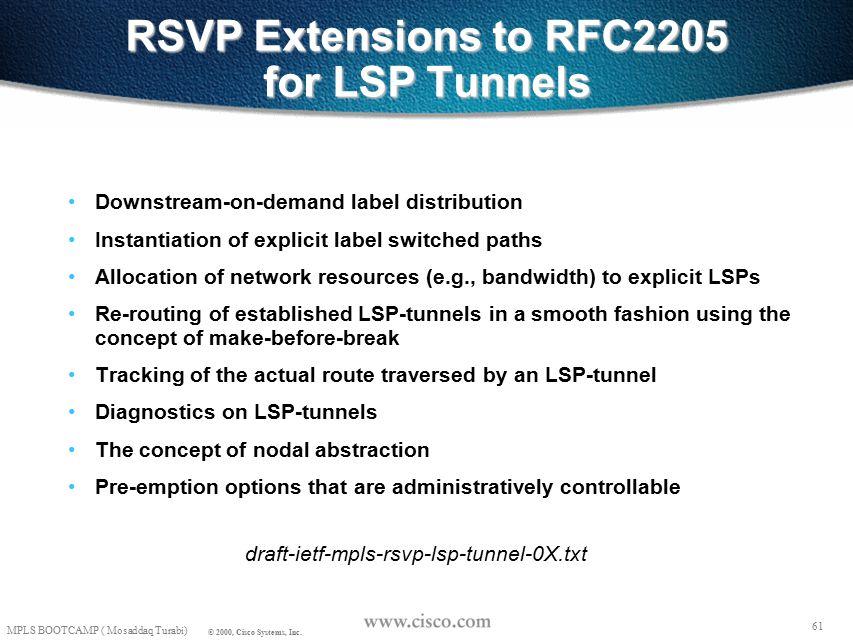 60 © 1999, Cisco Systems, Inc. Mosaddaq Turabi LSP Tunnel Setup 60 © 1999, Cisco Systems, Inc.