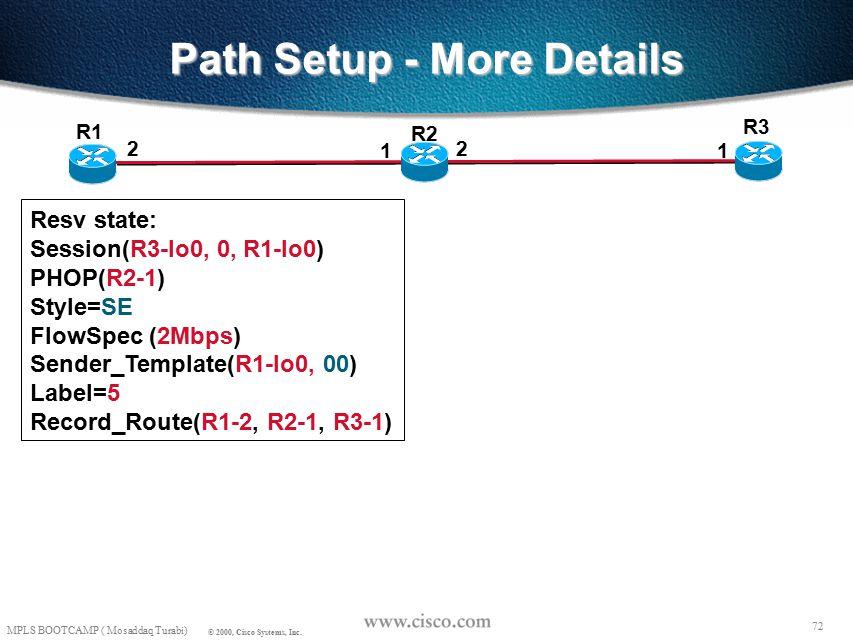 71 MPLS BOOTCAMP ( Mosaddaq Turabi) © 2000, Cisco Systems, Inc. Path Setup - More Details R3 R1 2 1 R2 2 1 Resv: Common_Header Session(R3-lo0, 0, R1-l