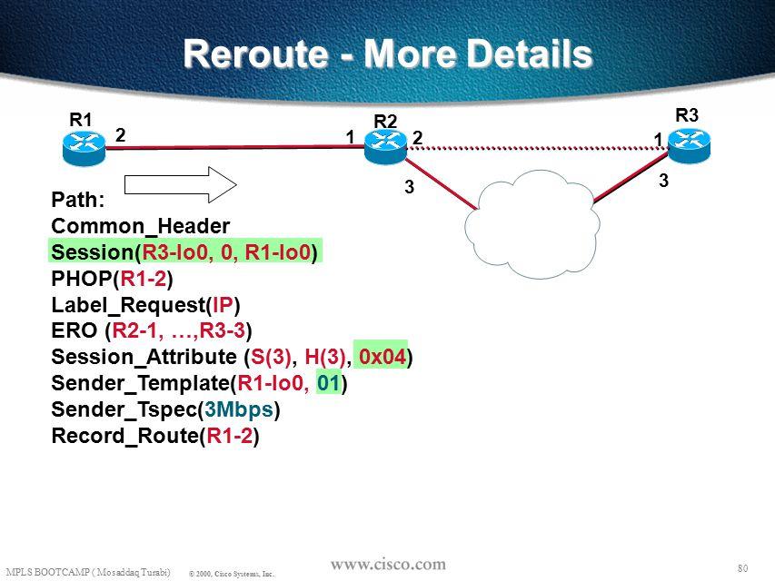 79 MPLS BOOTCAMP ( Mosaddaq Turabi) © 2000, Cisco Systems, Inc. Reroute - More Details R2 R3 R1 R2-1, R3-1 00 ERO (R2-1, R3-1) Sender_Template(R1-lo0,