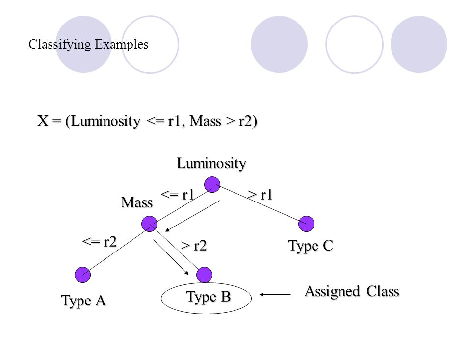 Classifying Examples Luminosity Mass Type A Type B Type C > r1 <= r1 > r2 <= r2 X = (Luminosity r2) Assigned Class
