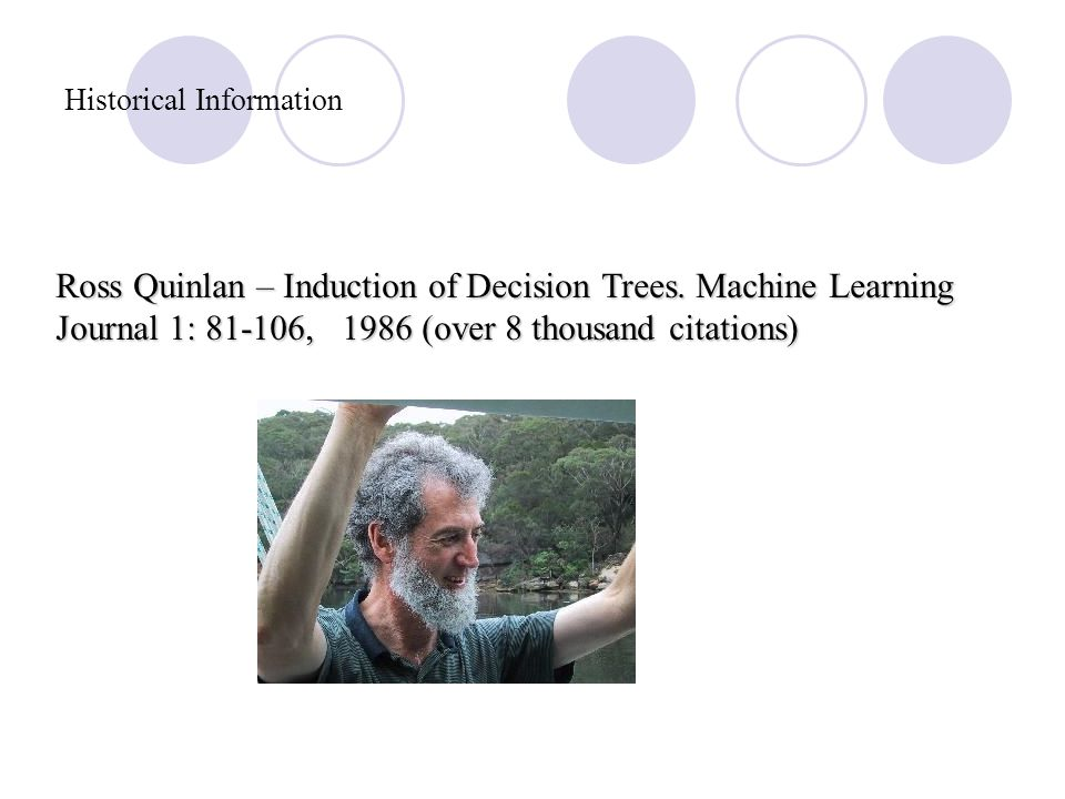 Historical Information Leo Breiman – CART (Classification and Regression Trees), 1984.
