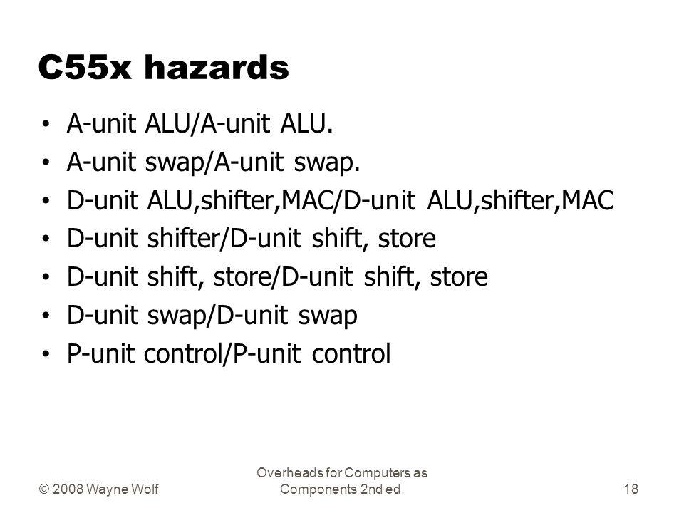 C55x hazards A-unit ALU/A-unit ALU. A-unit swap/A-unit swap. D-unit ALU,shifter,MAC/D-unit ALU,shifter,MAC D-unit shifter/D-unit shift, store D-unit s