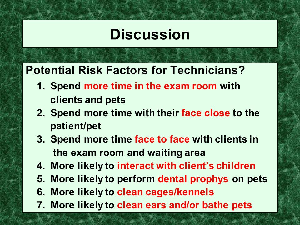 Discussion Potential Risk Factors for Technicians? 1. Spend more time in the exam room with clients and pets 2. Spend more time with their face close