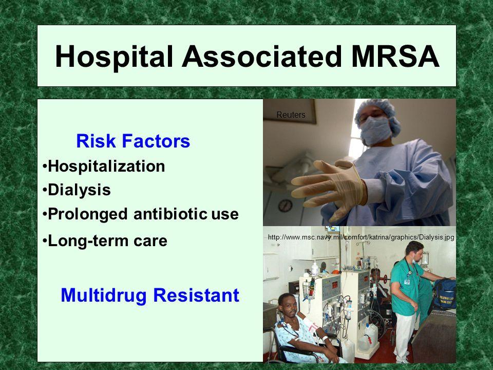 Hospital Associated MRSA Risk Factors Hospitalization Dialysis Prolonged antibiotic use Long-term care Multidrug Resistant http://www.msc.navy.mil/com
