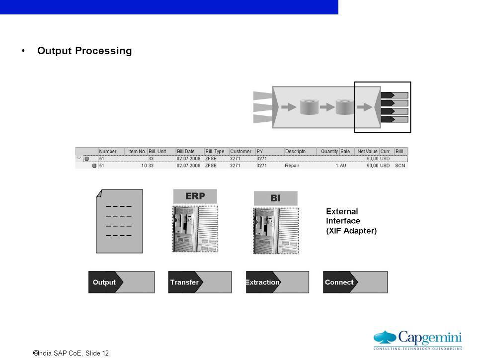  India SAP CoE, Slide 12 Output Processing