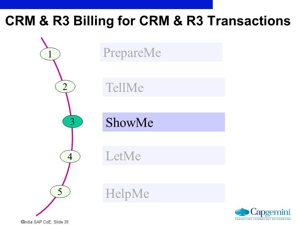  India SAP CoE, Slide 39 CRM & R3 Billing for CRM & R3 Transactions 1 PrepareMe 2 TellMe 3 ShowMe 4 LetMe 5 HelpMe