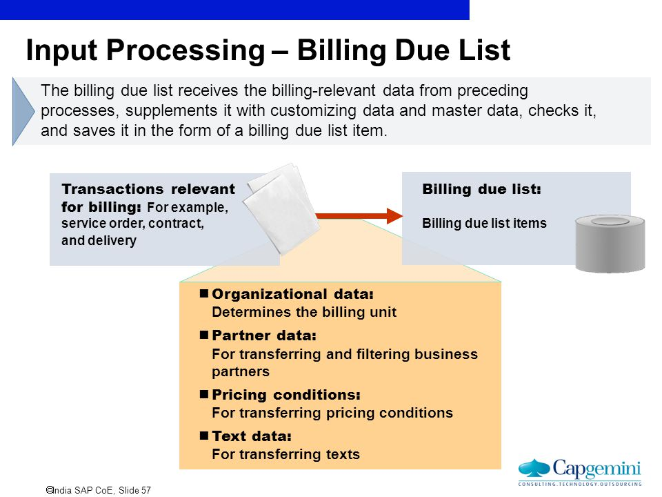  India SAP CoE, Slide 57 Input Processing – Billing Due List Transactions relevant for billing: For example, service order, contract, and delivery Bi
