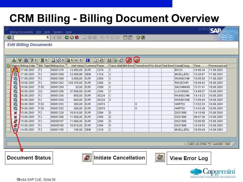  India SAP CoE, Slide 59 CRM Billing - Billing Document Overview Initiate Cancellation View Error Log Document Status