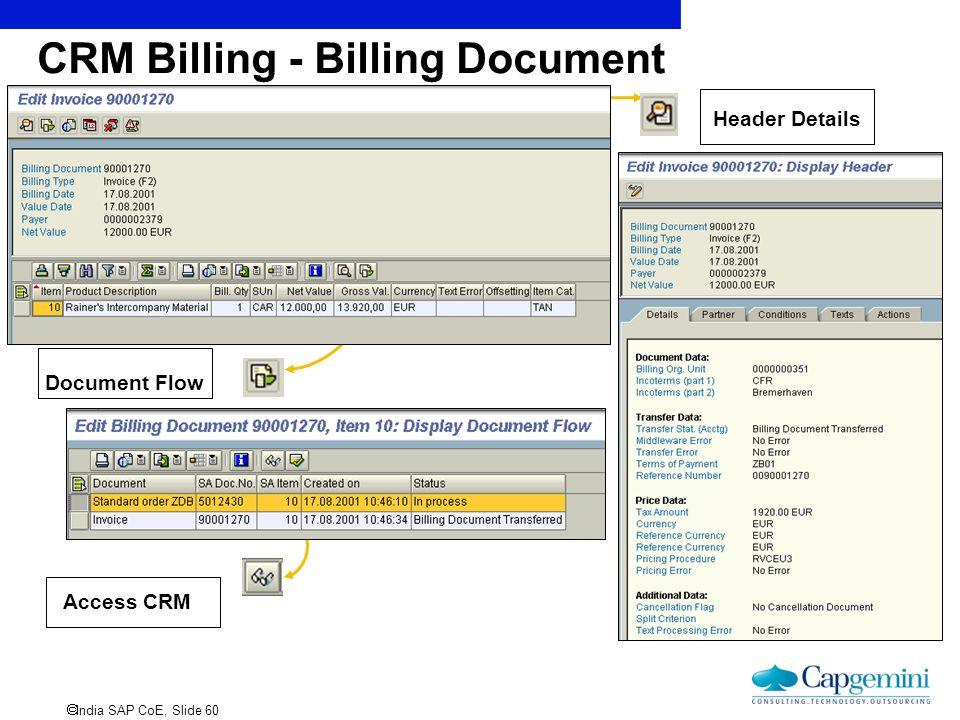  India SAP CoE, Slide 60 CRM Billing - Billing Document Header Details Document Flow Access CRM