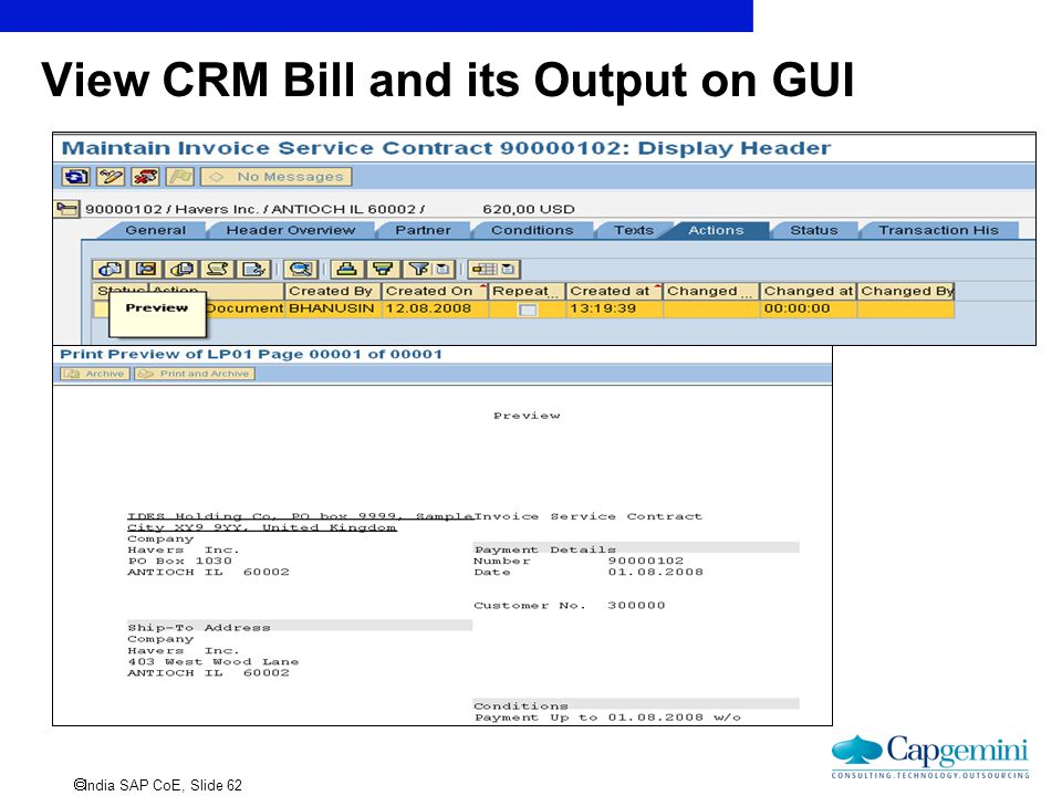  India SAP CoE, Slide 62 View CRM Bill and its Output on GUI