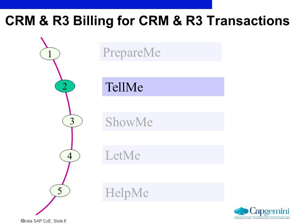  India SAP CoE, Slide 8 CRM & R3 Billing for CRM & R3 Transactions 1 PrepareMe 2 TellMe 3 ShowMe 4 LetMe 5 HelpMe