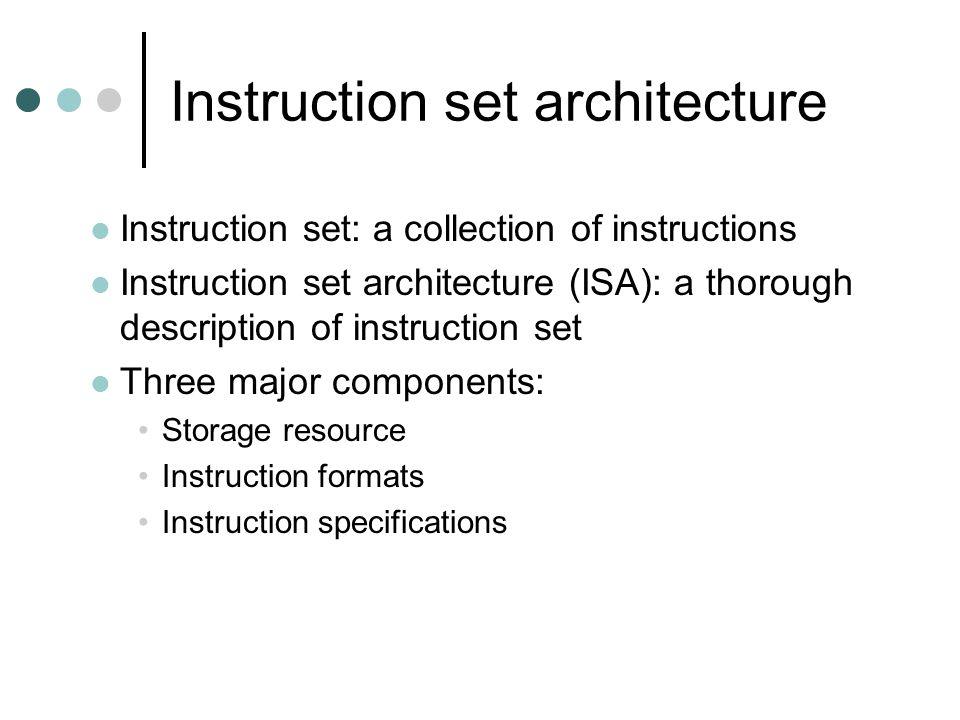 Instruction set architecture Instruction set: a collection of instructions Instruction set architecture (ISA): a thorough description of instruction set Three major components: Storage resource Instruction formats Instruction specifications