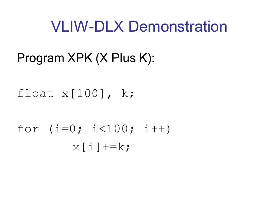 VLIW-DLX Demonstration Program XPK (X Plus K): float x[100], k; for (i=0; i<100; i++) x[i]+=k;