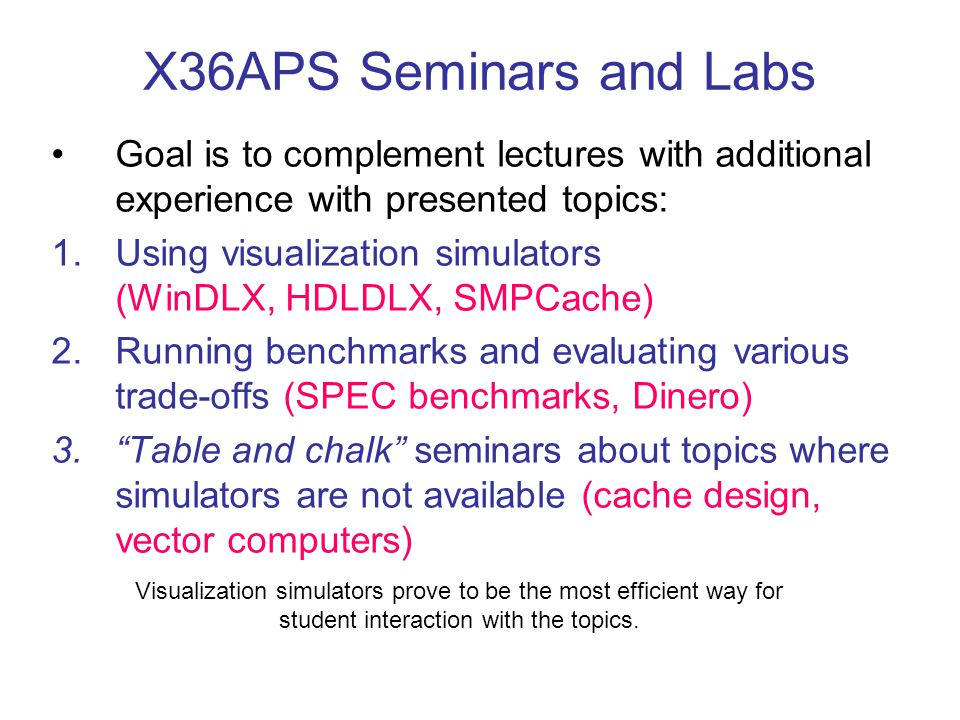 X36APS Seminars and Labs Goal is to complement lectures with additional experience with presented topics: 1.Using visualization simulators (WinDLX, HD