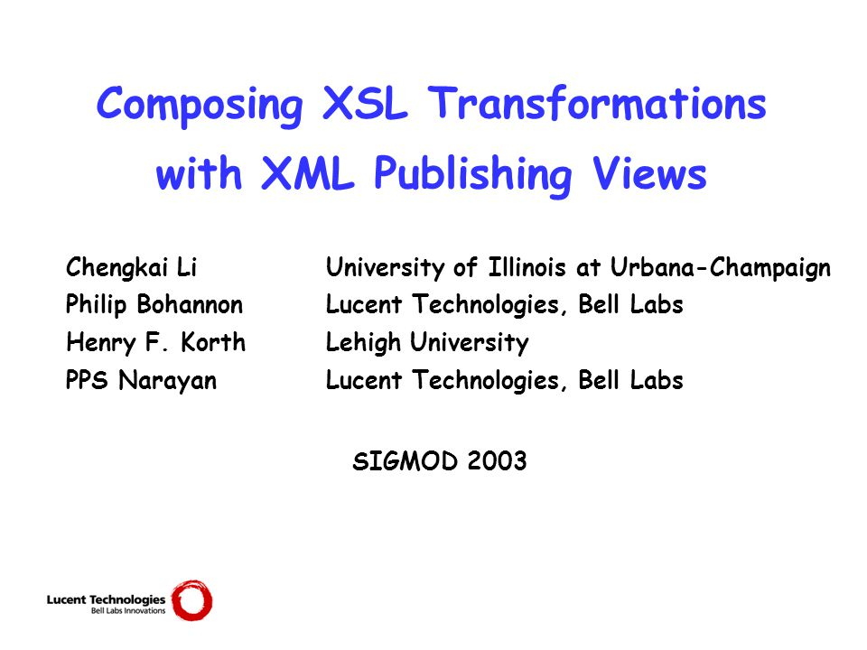 2 Motivation XML: popular for data representation and exchange  The data: stored in RDBMS  Vast majority of existing data stored in RDBMS  Efficiency, robustness of RDBMS for XML applications  XML Publishing Views (SilkRoute, XPERANTO)  The query: expressed as XSLT  Designed for document transformation  Popular as XML query language How to evaluate queries on relational data posed in XSLT?