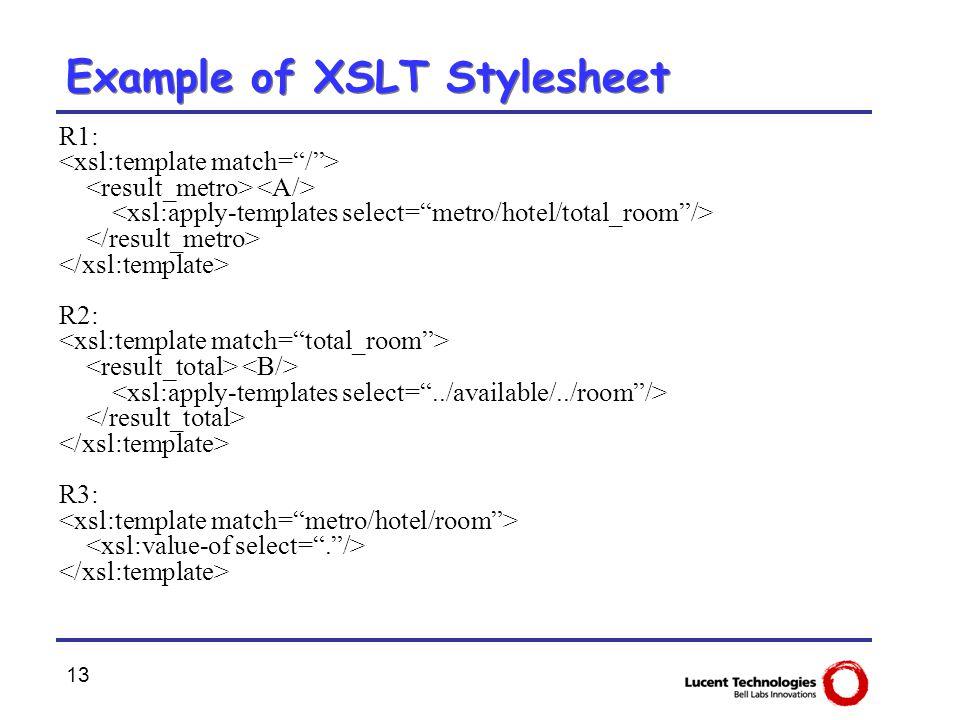 13 Example of XSLT Stylesheet R1: R2: R3: