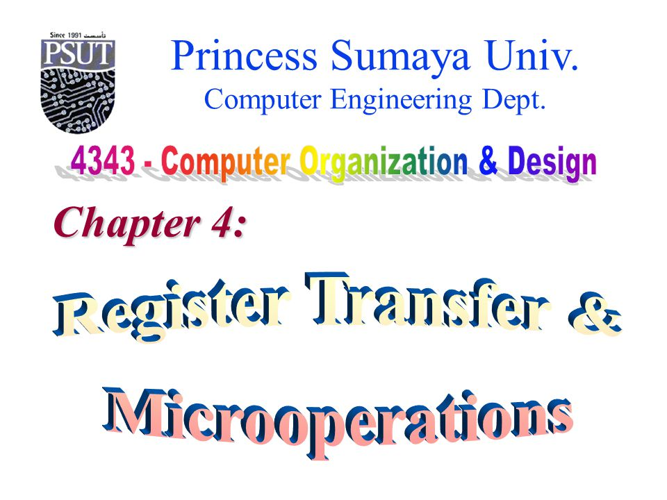 Princess Sumaya Univ. Computer Engineering Dept. Chapter 4: