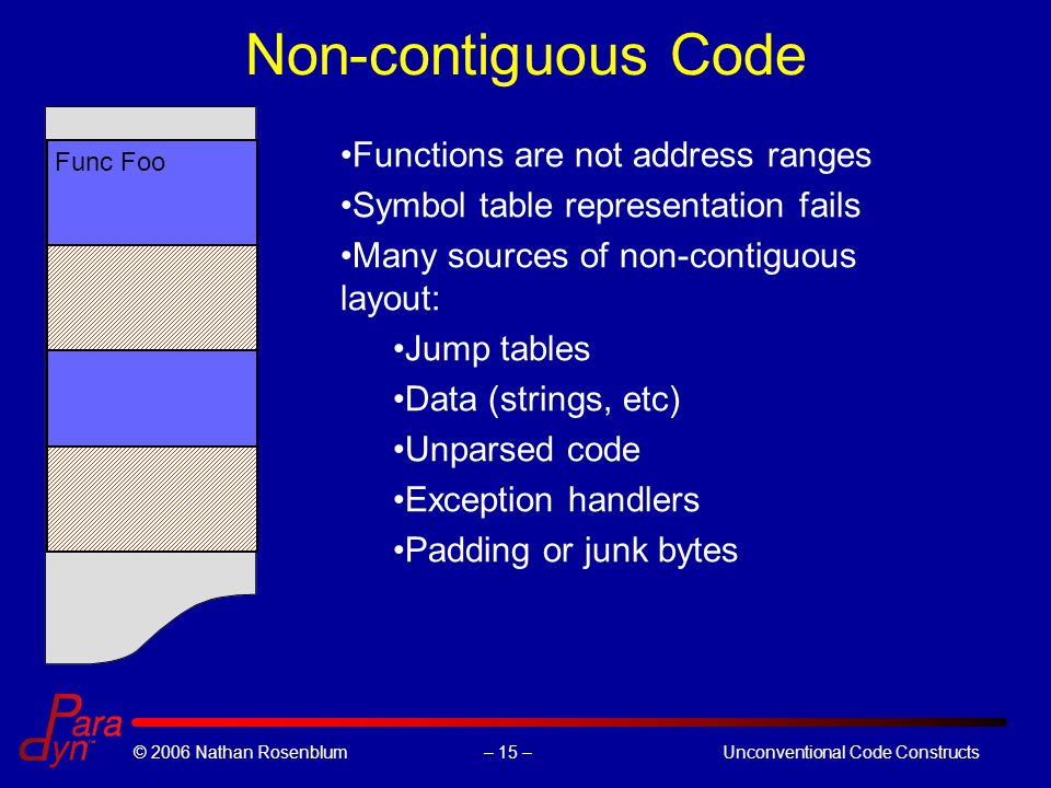– 15 –© 2006 Nathan RosenblumUnconventional Code Constructs Non-contiguous Code Func Foo Functions are not address ranges Symbol table representation fails Many sources of non-contiguous layout: Jump tables Data (strings, etc) Unparsed code Exception handlers Padding or junk bytes