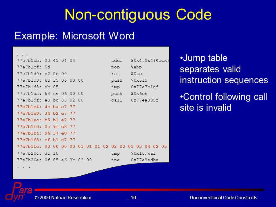 – 16 –© 2006 Nathan RosenblumUnconventional Code Constructs Non-contiguous Code...