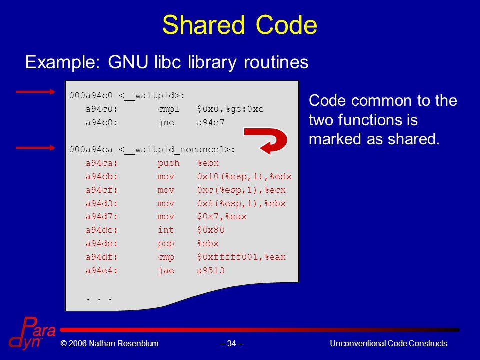 – 34 –© 2006 Nathan RosenblumUnconventional Code Constructs Shared Code 000a94c0 : a94c0: cmpl $0x0,%gs:0xc a94c8: jne a94e7 000a94ca : a94ca: push %ebx a94cb: mov 0x10(%esp,1),%edx a94cf: mov 0xc(%esp,1),%ecx a94d3: mov 0x8(%esp,1),%ebx a94d7: mov $0x7,%eax a94dc: int $0x80 a94de: pop %ebx a94df: cmp $0xfffff001,%eax a94e4: jae a9513...