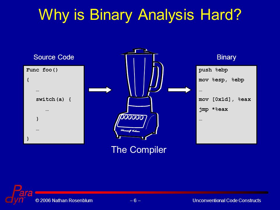 – 6 –© 2006 Nathan RosenblumUnconventional Code Constructs Why is Binary Analysis Hard? Func foo() { … switch(a) { … } … } push %ebp mov %esp, %ebp …