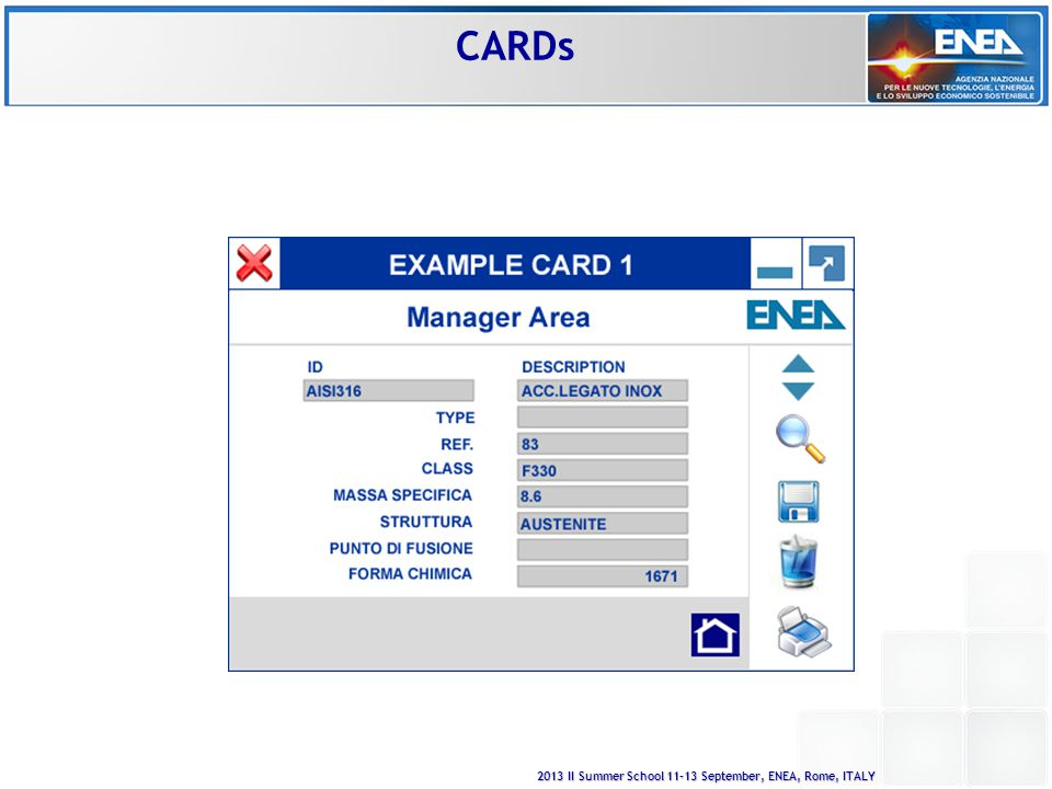2013 II Summer School 11-13 September, ENEA, Rome, ITALY CARDs