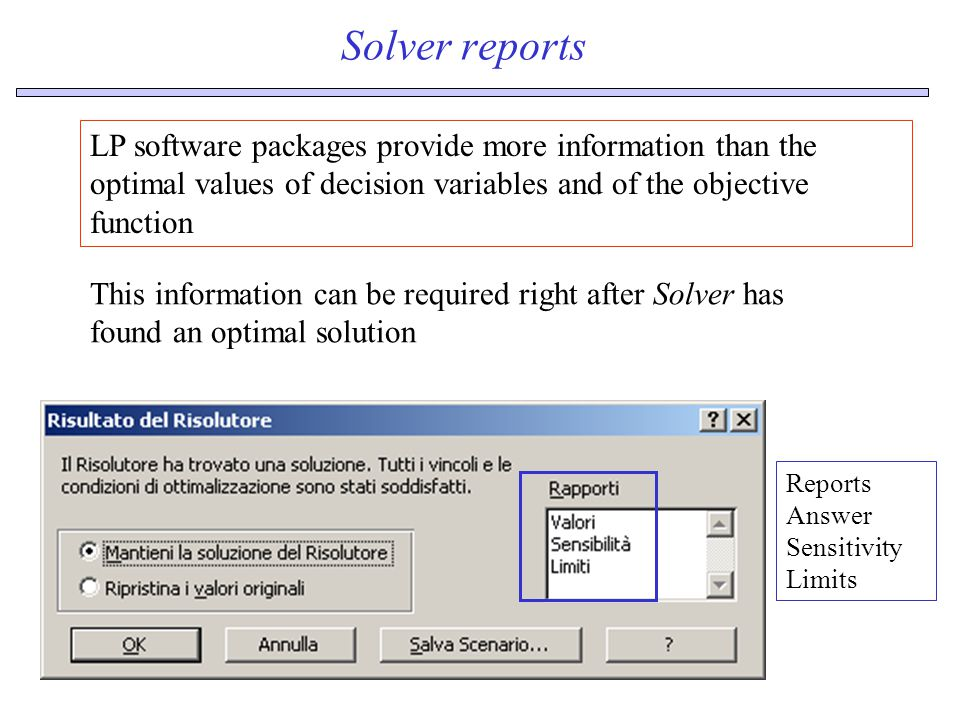 Solver reports LP software packages provide more information than the optimal values of decision variables and of the objective function Reports Answer Sensitivity Limits This information can be required right after Solver has found an optimal solution