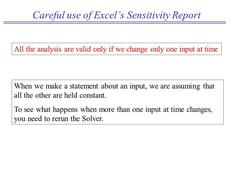 Careful use of Excel's Sensitivity Report All the analysis are valid only if we change only one input at time When we make a statement about an input, we are assuming that all the other are held constant.