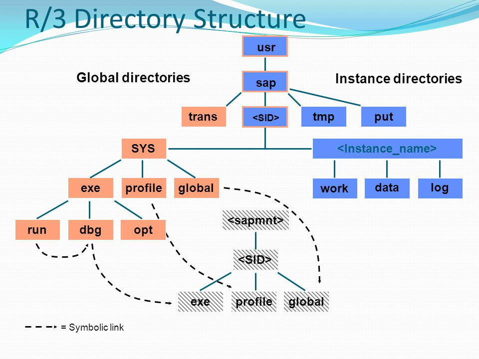 R/3 Directory Structure Global directories Instance directories SYS log work data globalexeprofile rundbgopt transtmpput usr sap exeprofileglobal = Symbolic link