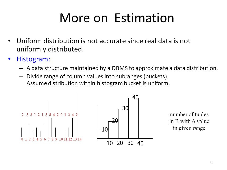 13 More on Estimation Uniform distribution is not accurate since real data is not uniformly distributed. Histogram: – A data structure maintained by a