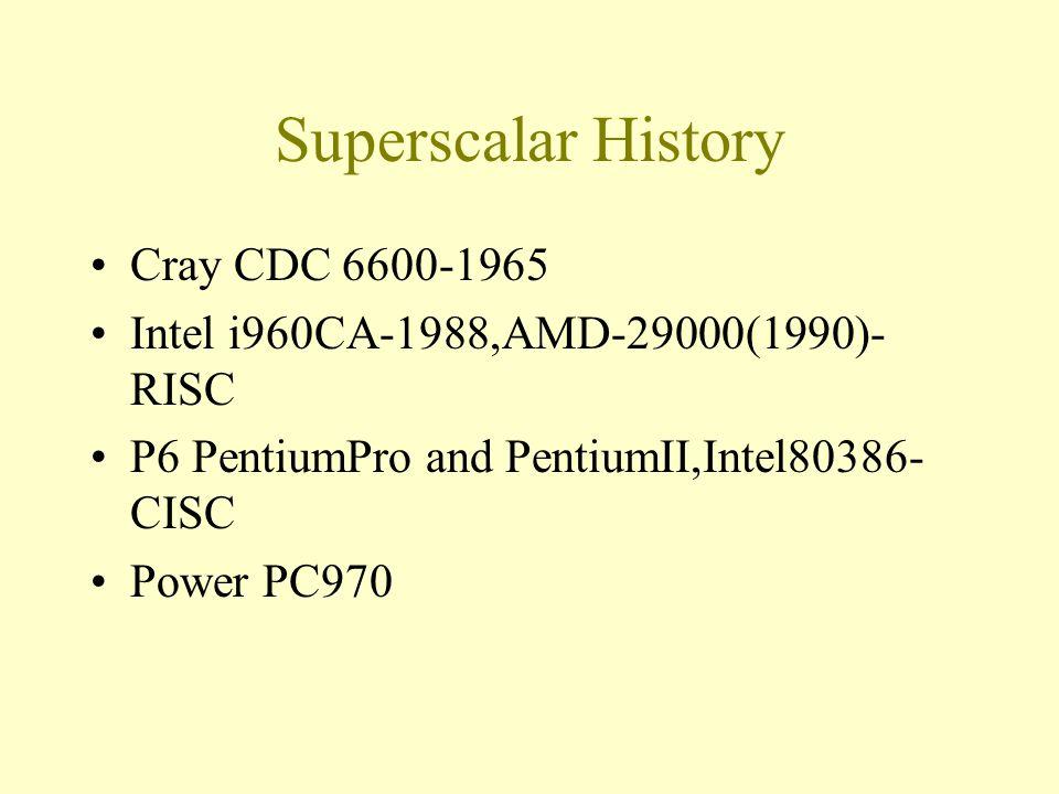 Superscalar History Cray CDC 6600-1965 Intel i960CA-1988,AMD-29000(1990)- RISC P6 PentiumPro and PentiumII,Intel80386- CISC Power PC970