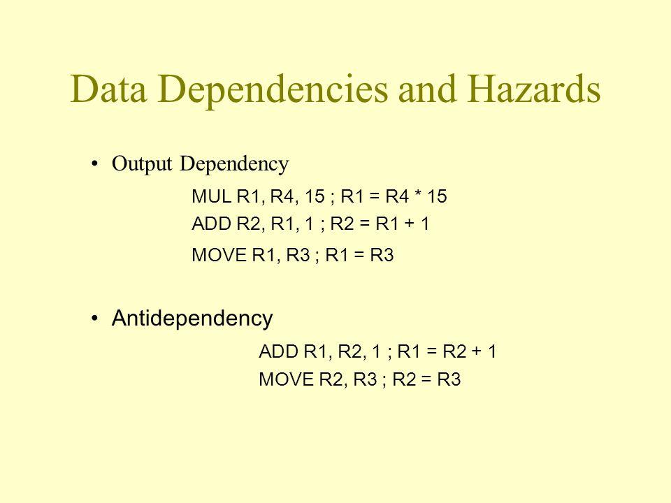 Data Dependencies and Hazards Output Dependency MUL R1, R4, 15 ; R1 = R4 * 15 ADD R2, R1, 1 ; R2 = R1 + 1 MOVE R1, R3 ; R1 = R3 Antidependency ADD R1, R2, 1 ; R1 = R2 + 1 MOVE R2, R3 ; R2 = R3