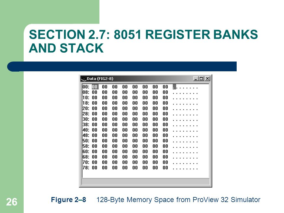 26 SECTION 2.7: 8051 REGISTER BANKS AND STACK Figure 2–8 128-Byte Memory Space from ProView 32 Simulator