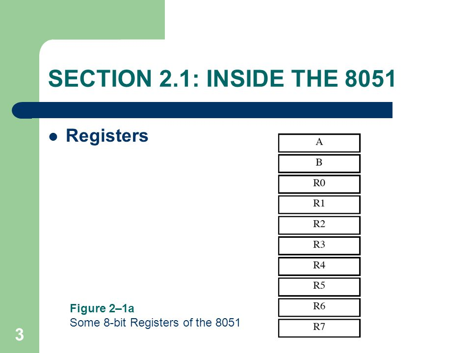 24 SECTION 2.7: 8051 REGISTER BANKS AND STACK Stack in the 8051 – section of RAM used to store information temporarily – could be data or an address – CPU needs this storage area since there are only a limited number of registers