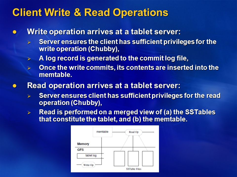 Client Write & Read Operations Write operation arrives at a tablet server: Write operation arrives at a tablet server:  Server ensures the client has