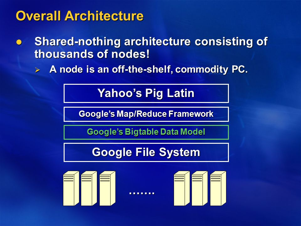 Overall Architecture Shared-nothing architecture consisting of thousands of nodes! Shared-nothing architecture consisting of thousands of nodes!  A n