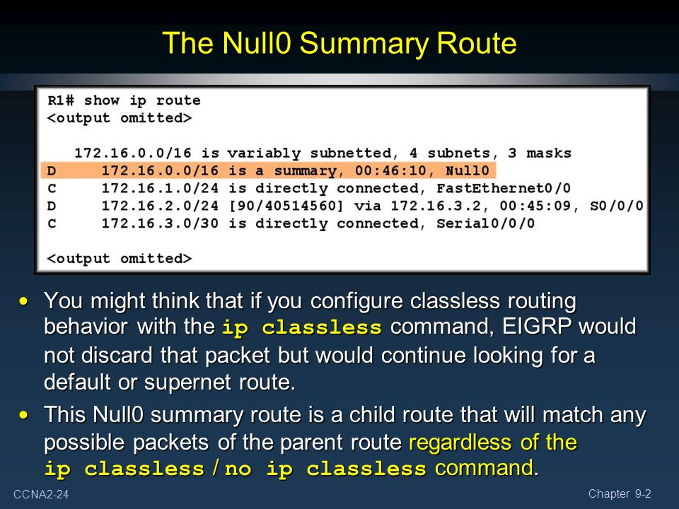 CCNA2-24 Chapter 9-2 You might think that if you configure classless routing behavior with the ip classless command, EIGRP would not discard that pack
