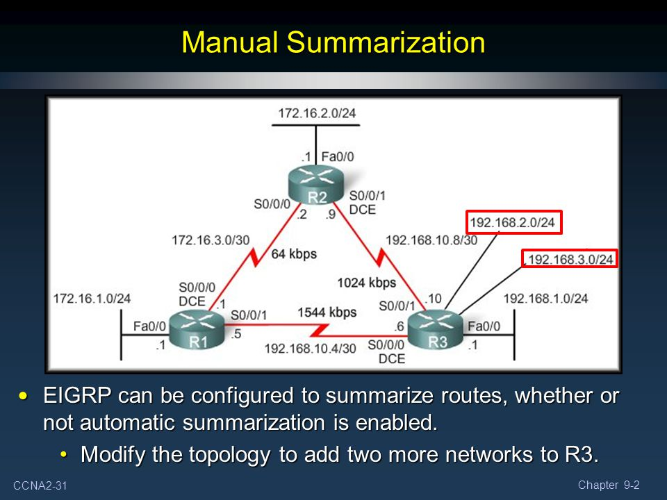CCNA2-31 Chapter 9-2 EIGRP can be configured to summarize routes, whether or not automatic summarization is enabled. EIGRP can be configured to summar