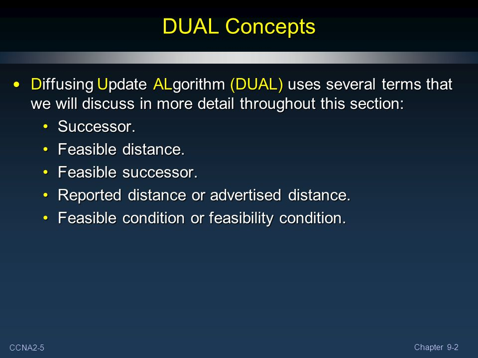 CCNA2-16 Chapter 9-2 Topology Table: Successor Two States: Active (A): Being recalculated by DUAL.