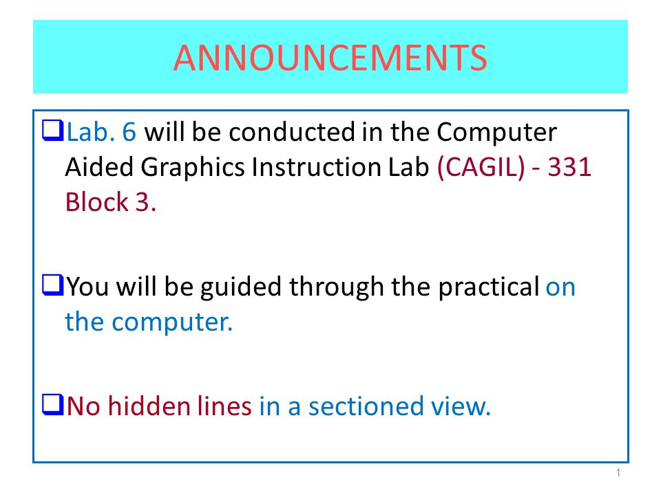1 ANNOUNCEMENTS  Lab.