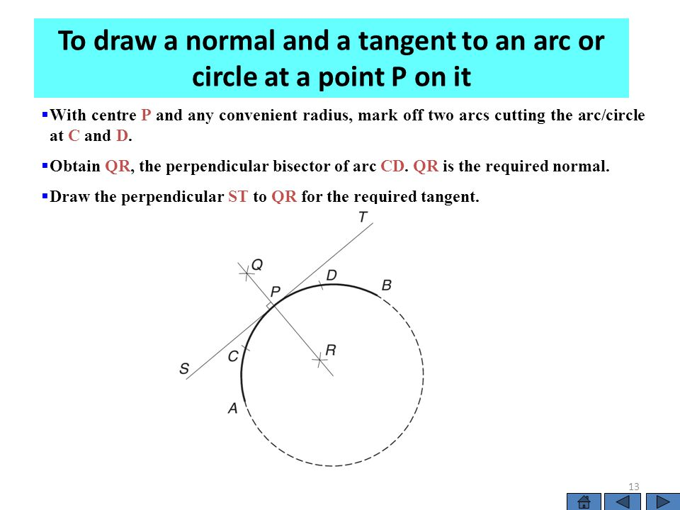  With centre P and any convenient radius, mark off two arcs cutting the arc/circle at C and D.