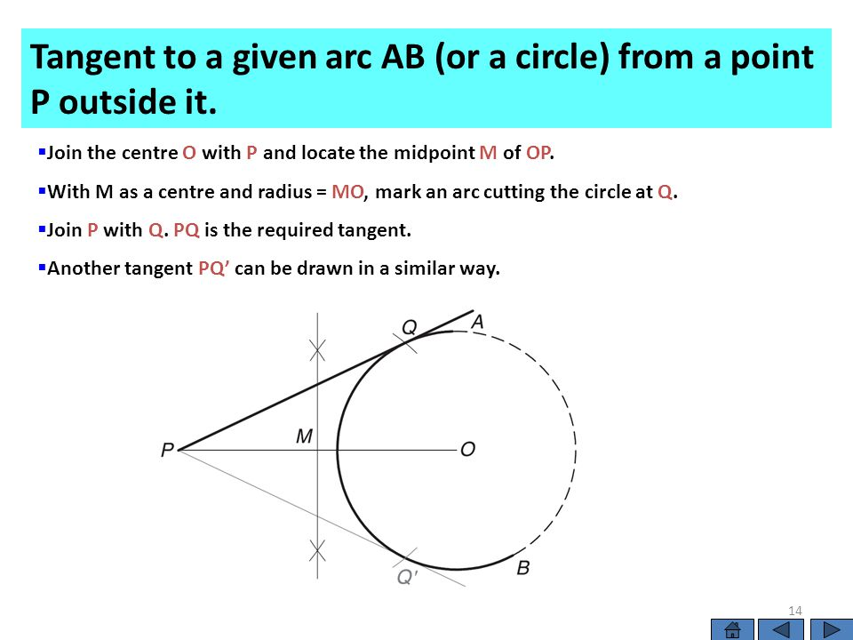  Join the centre O with P and locate the midpoint M of OP.  With M as a centre and radius = MO, mark an arc cutting the circle at Q.  Join P with Q