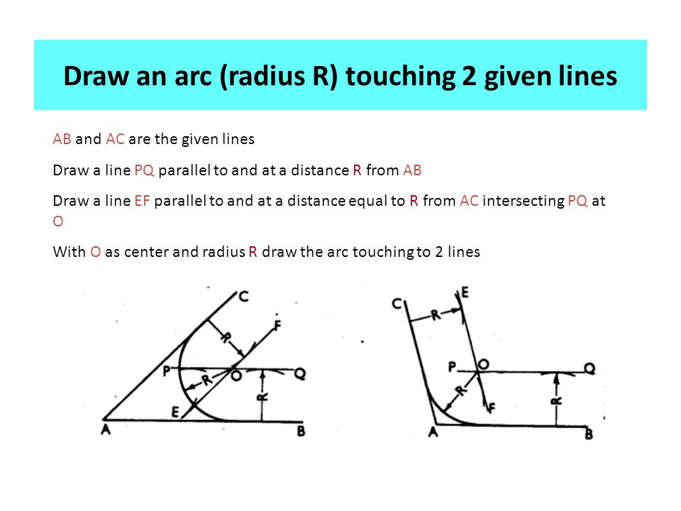 Draw an arc (radius R) touching 2 given lines AB and AC are the given lines Draw a line PQ parallel to and at a distance R from AB Draw a line EF parallel to and at a distance equal to R from AC intersecting PQ at O With O as center and radius R draw the arc touching to 2 lines